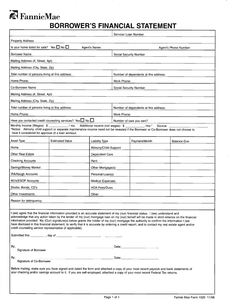 Get And Sign Financial Statement Form 1020 1998-2021