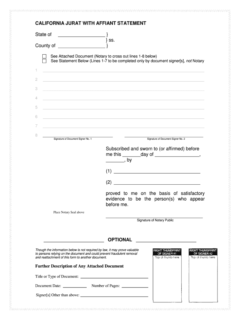 Get And Sign California Jurat With Affiant Statement Form