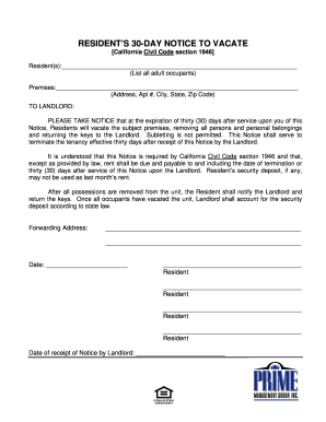 30 day notice to vacate fill out and sign printable pdf. Black Bedroom Furniture Sets. Home Design Ideas