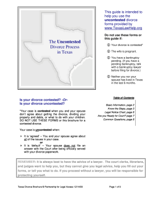 graphic about Printable Divorce Papers for Texas named Texas divorce brochure sort - Fill Out and Indication Printable