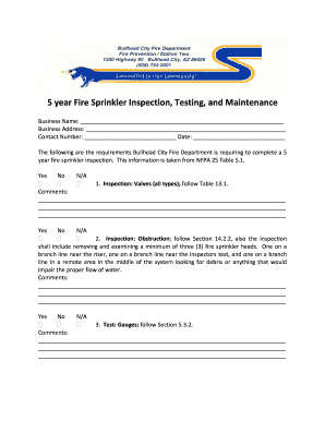 5 year fire sprinkler inspection form - Fill Out and Sign