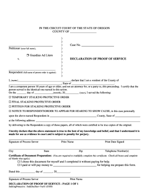 Oregon proof of service form - Fill Out and Sign Printable
