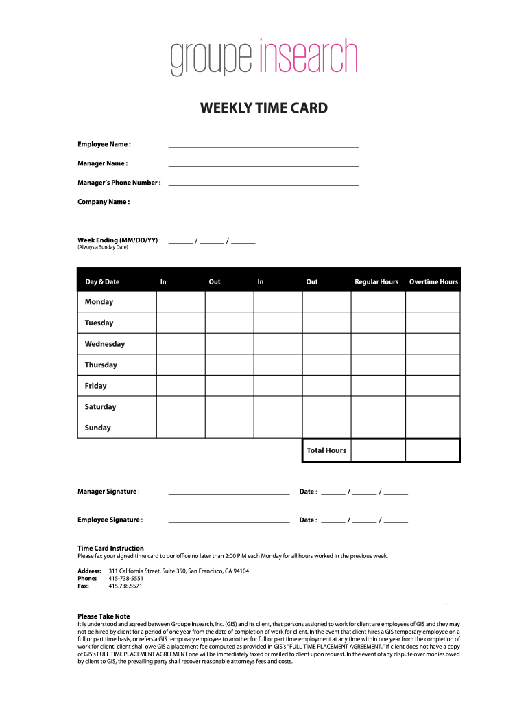 Printable Time Cards - Fill Out and Sign Printable PDF ...