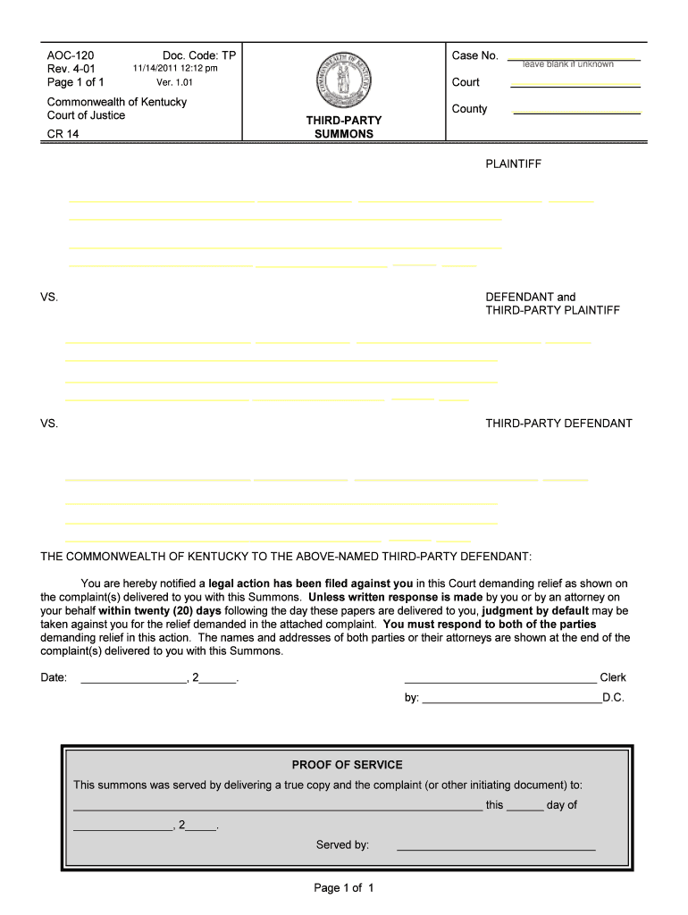 Get And Sign Summons In A Civil Action  U S Courts  Courts Ky 2001-2021 Form
