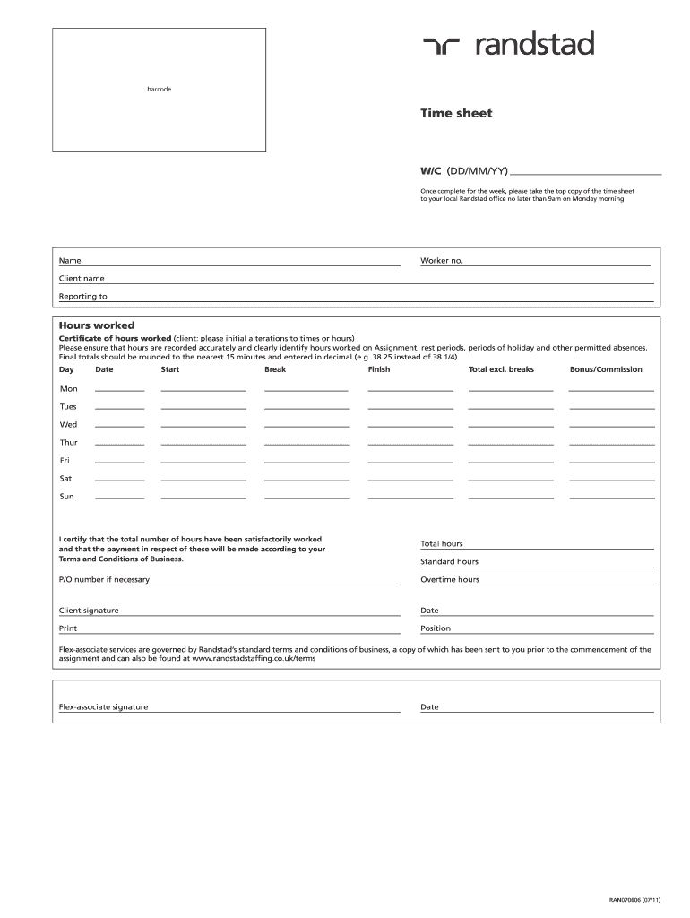 Get And Sign Randstad Timesheet 2011-2021 Form