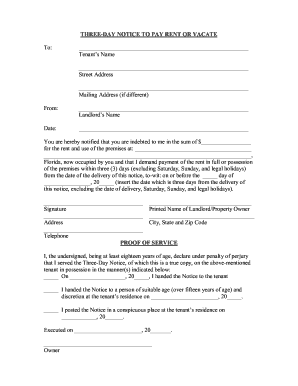 Get And Sign Florida 3 Day Eviction Notice Form