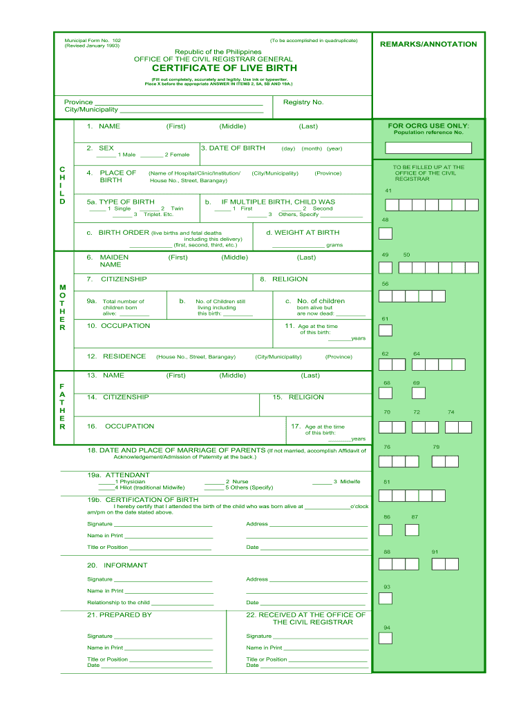 Birth Certificate Form Fill Out And Sign Printable Pdf Template Signnow