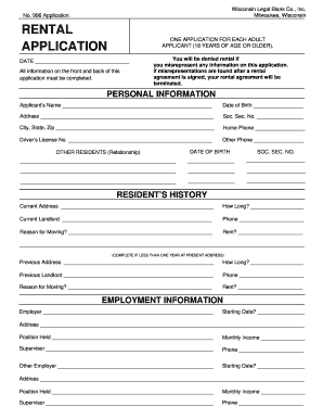 graphic regarding Printable Rental Application Form known as Condominium software program variety wisconsin no 996 - Fill Out and Indication