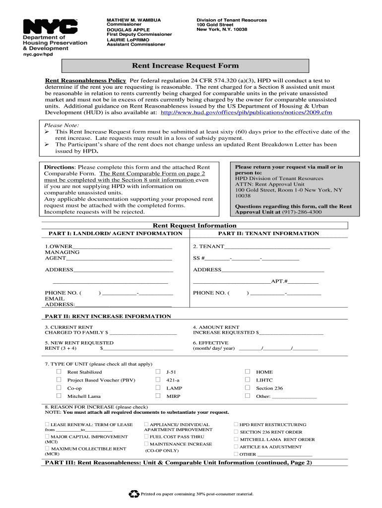 Get And Sign Hpd Rent Increase Form