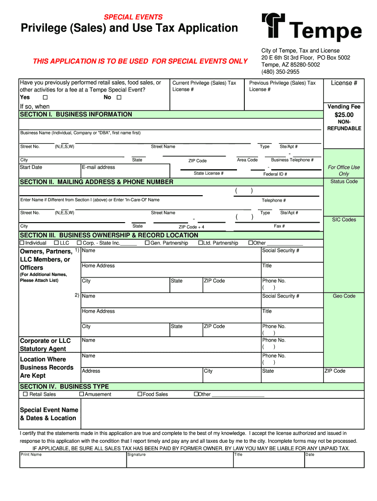 Get And Sign City Of Tempe Sales Tax Return Form