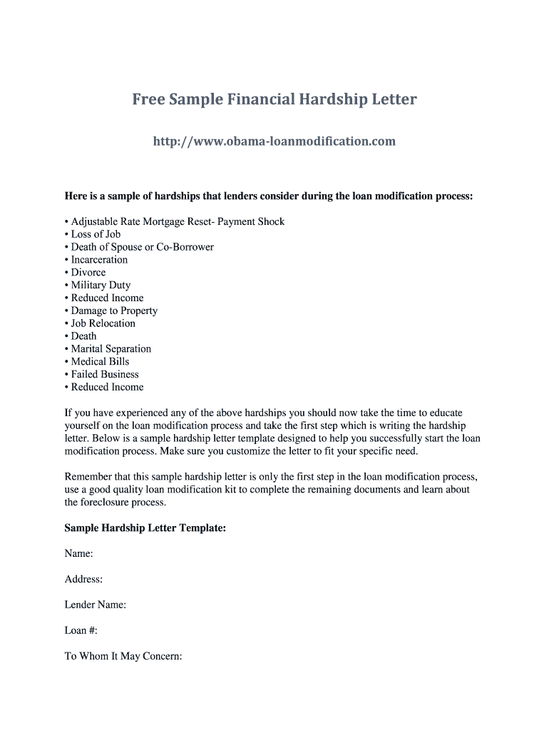 Sample Of Harship Letter from www.signnow.com