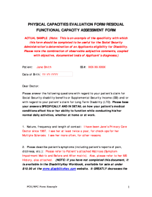 Physical Capacities Evaluation Form/residual Functional