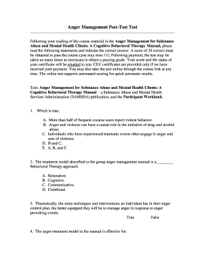 Printable anger management test