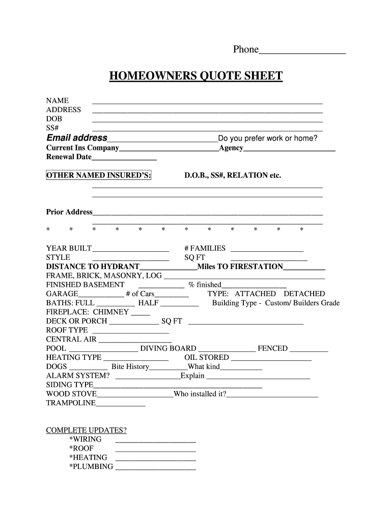 Homeowners Quote Form Pdf Fill Out And Sign Printable Pdf Template Signnow