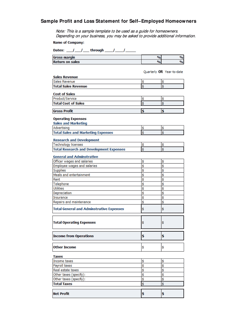 Profit And Loss Statement Pdf Fill Out And Sign Printable Pdf Template Signnow