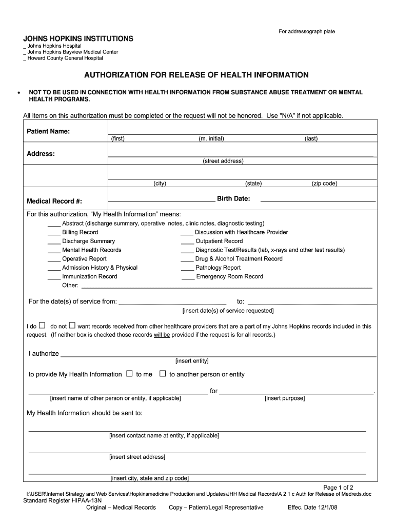 Get And Sign Johns Hopkins Medical Records 2008-2021 Form