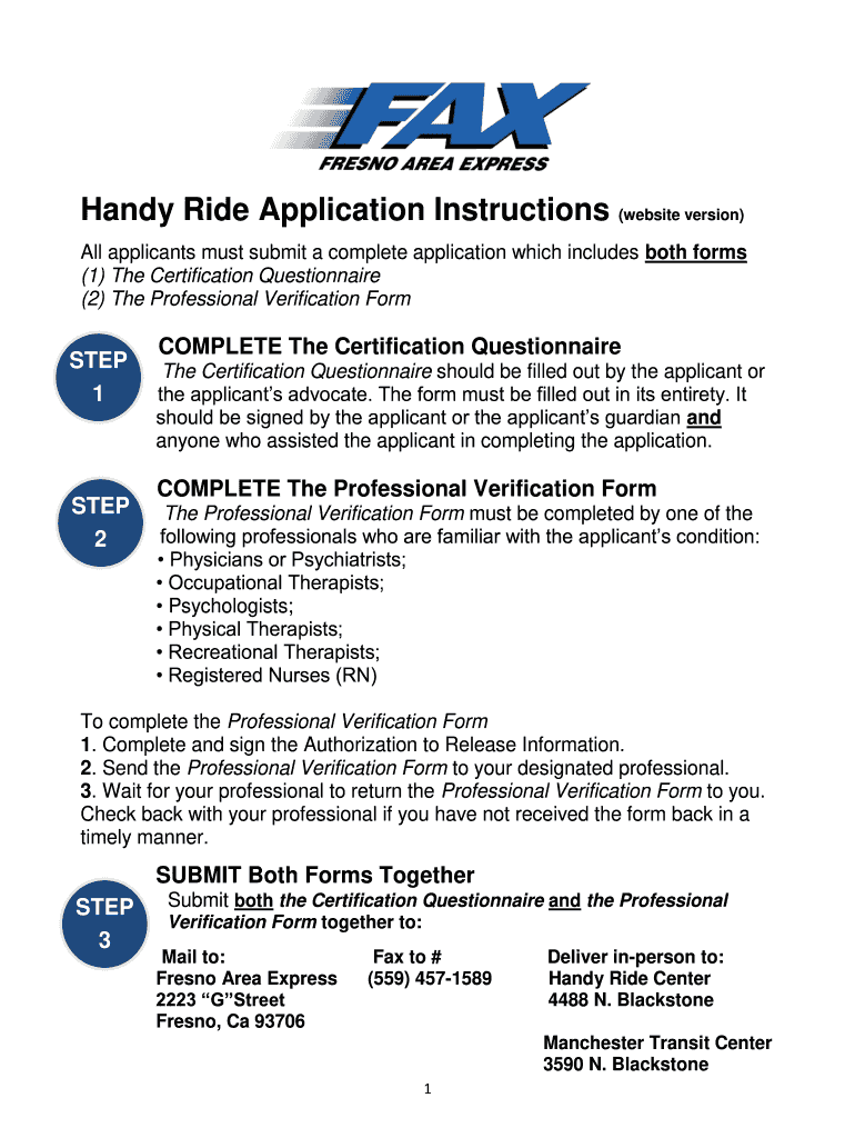 Get And Sign Handy Ride Form