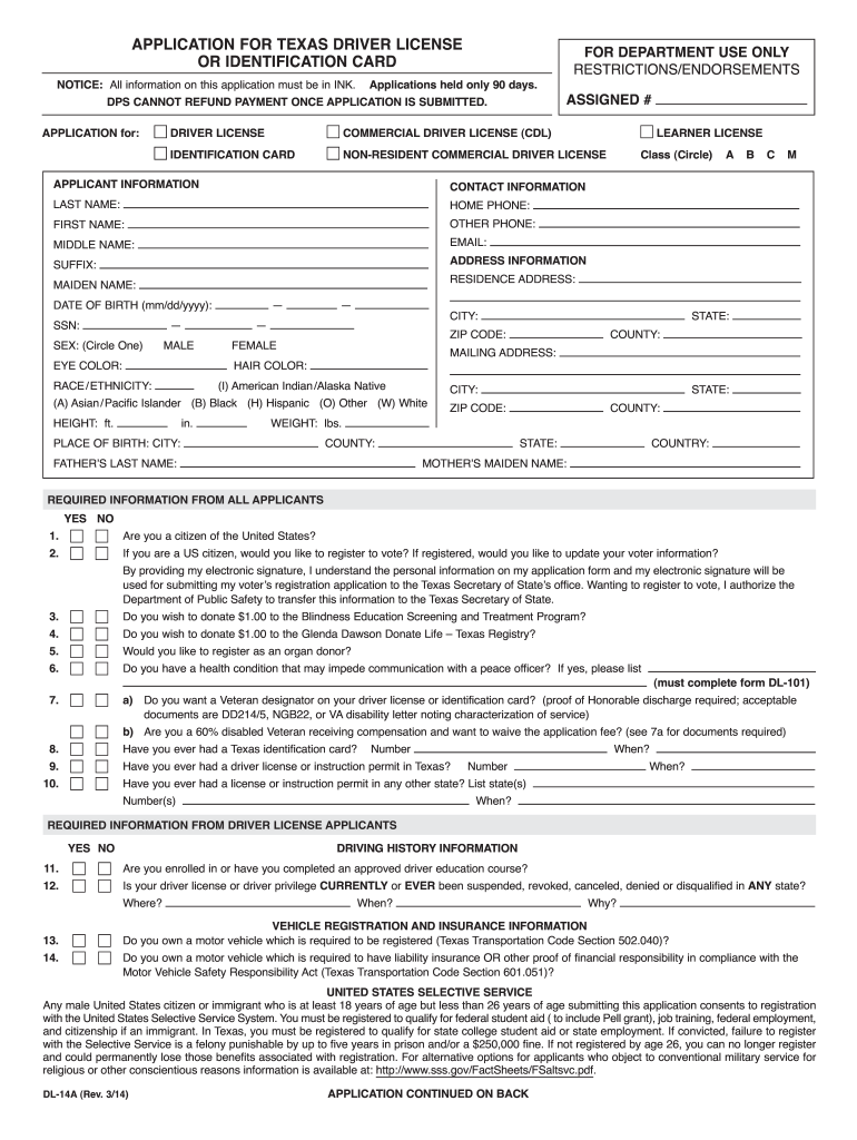 Driver S License Renewal Form Texas Printable Fill Out And Sign Printable Pdf Template Signnow