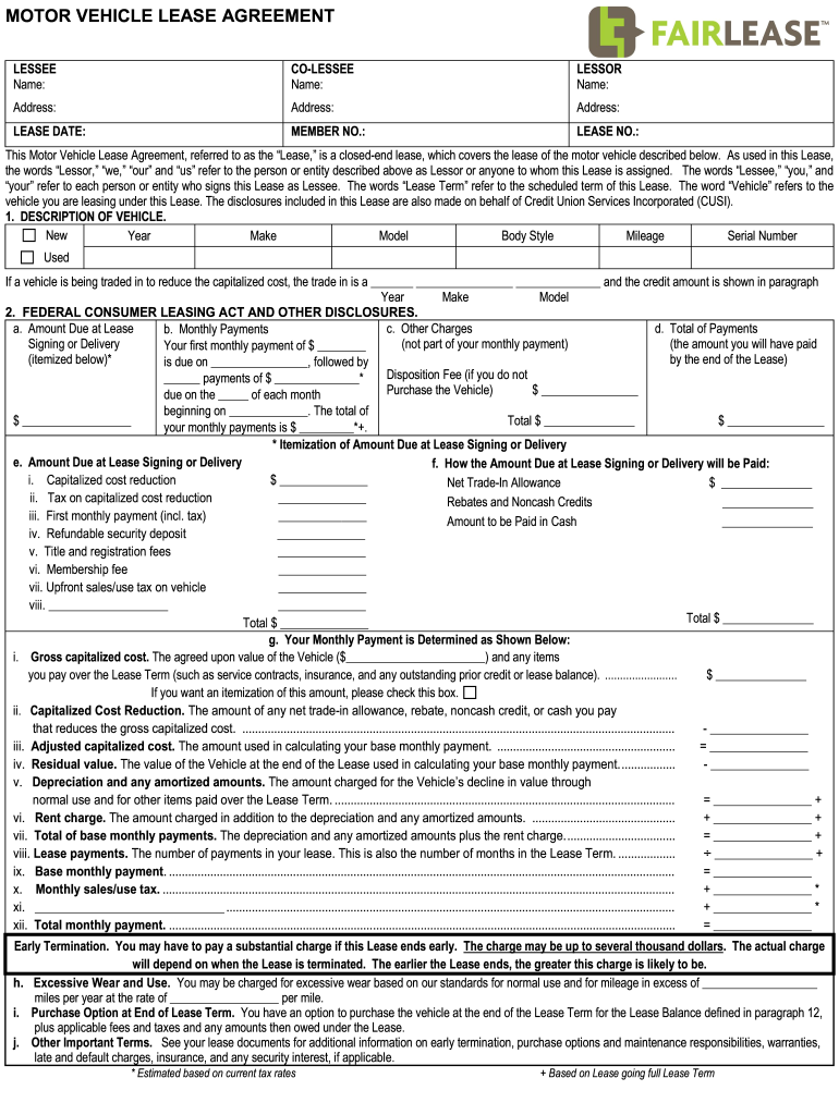 Get And Sign Vehicle Lease Agreement Form
