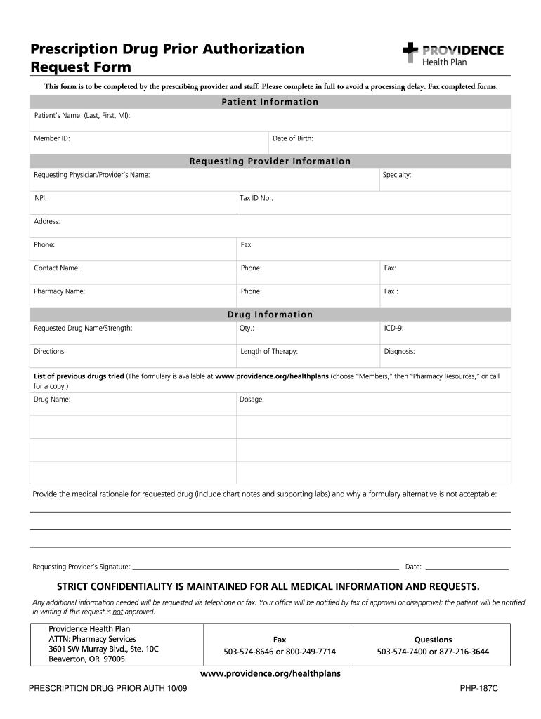 Providence Prior Authorization Form