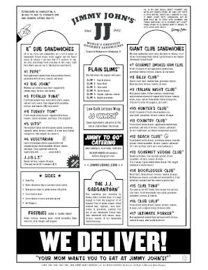 jimmy johns order form pdf  Menu of jimmy johns form - Fill Out and Sign Printable PDF ...