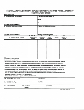 photograph about Printable Nafta Form named Dominican republic certification of origin variety - Fill Out and