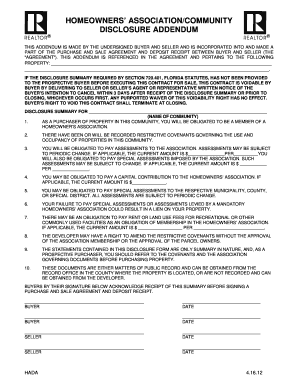 Homeowners Association Disclosure Form Fill Out And Sign