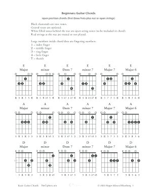 picture regarding Printable Guitar Chords Chart Pdf known as Guitar chords chart pdf type - Fill Out and Indicator Printable
