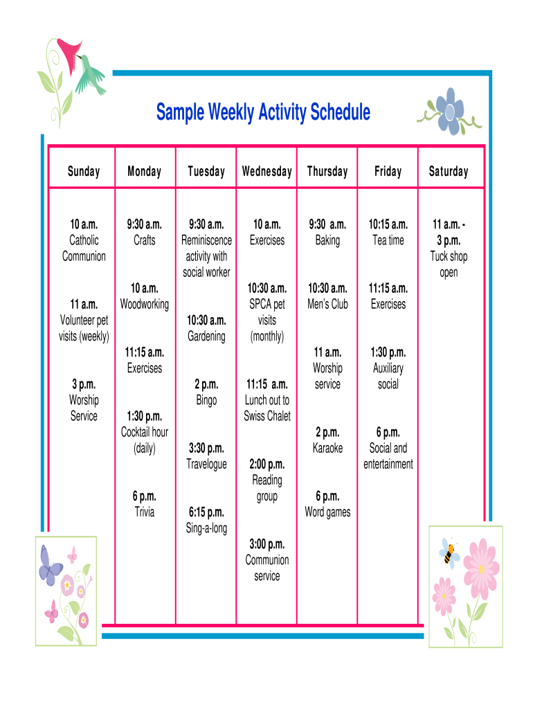 Get And Sign Sample Weekly Activity Schedule Form