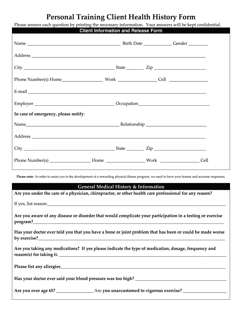Get And Sign Customizable Personal Trainer Medical History Form 2009-2021