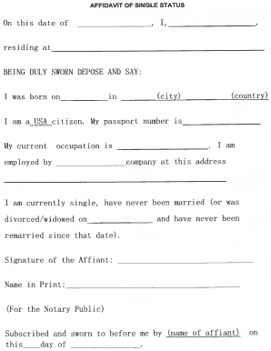 Single status affidavit form - Fill Out and Sign Printable