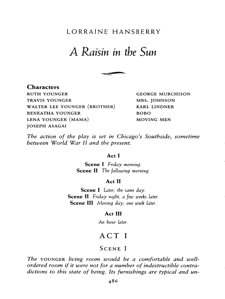 Get And Sign A Raisin In The Sun Full Text Form
