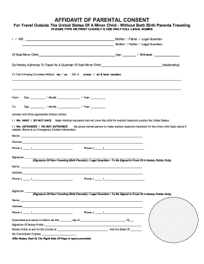 Travel Affidavit Form Fill Out And Sign Printable Pdf