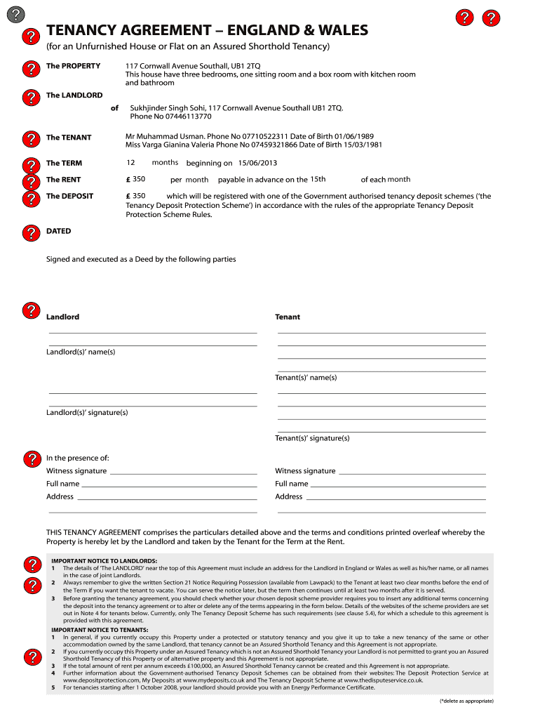 Get And Sign Tenancy Agreement England And Wales Pdf Form