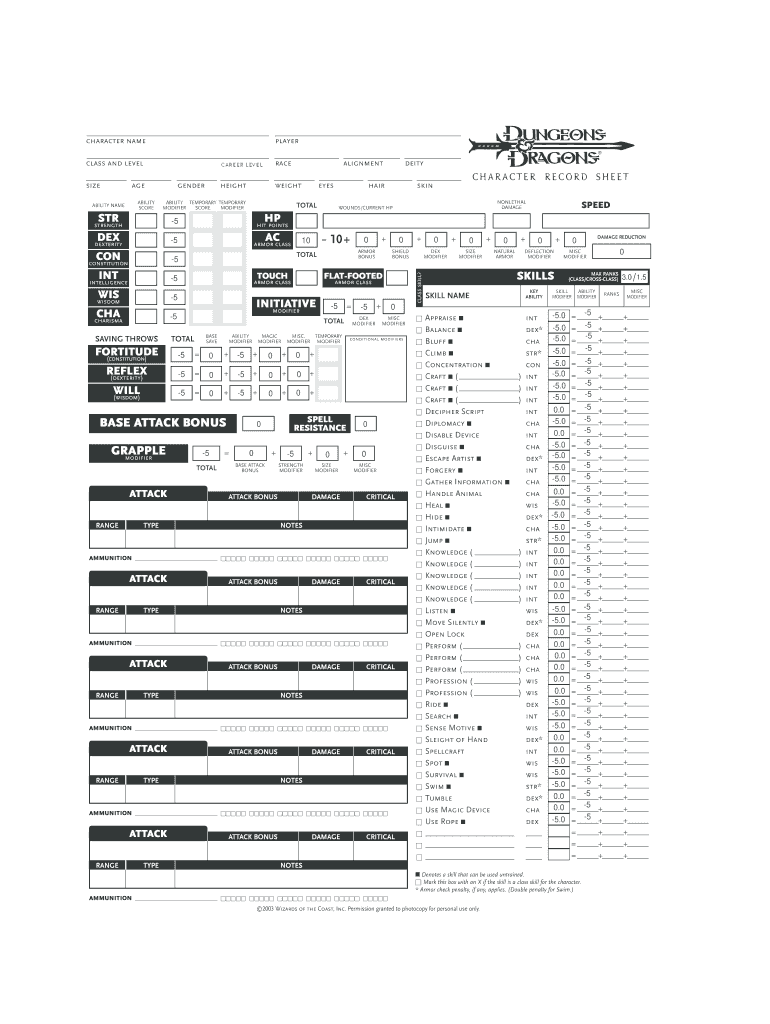 D D 3 5 Character Sheet Fill Out And Sign Printable Pdf Template Signnow