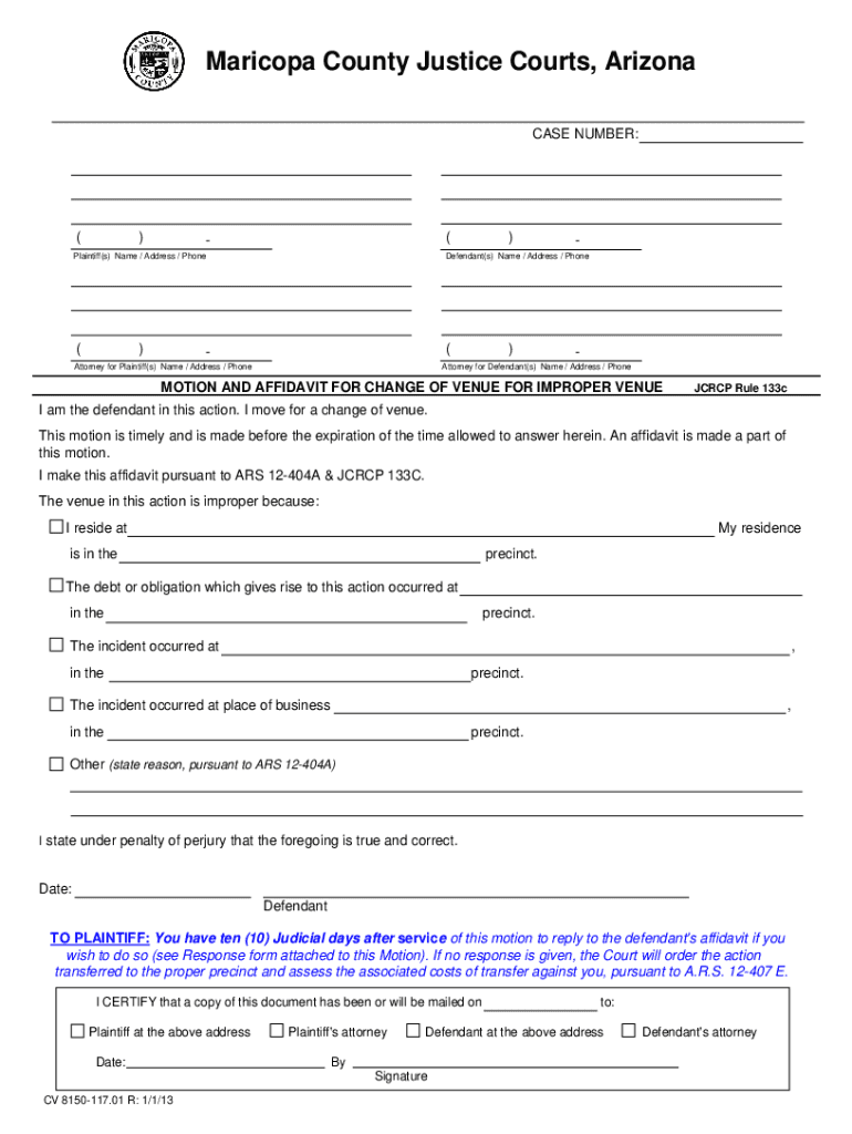 Get And Sign Change Of Venue Maricopa County 2013-2021 Form