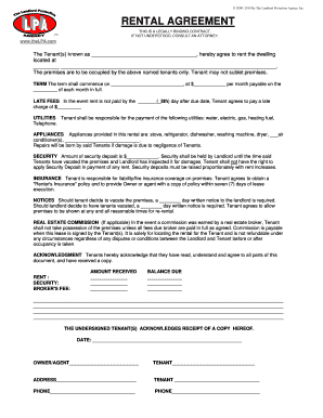 Lpa Rental Agreement Form Fill Out And Sign Printable Pdf