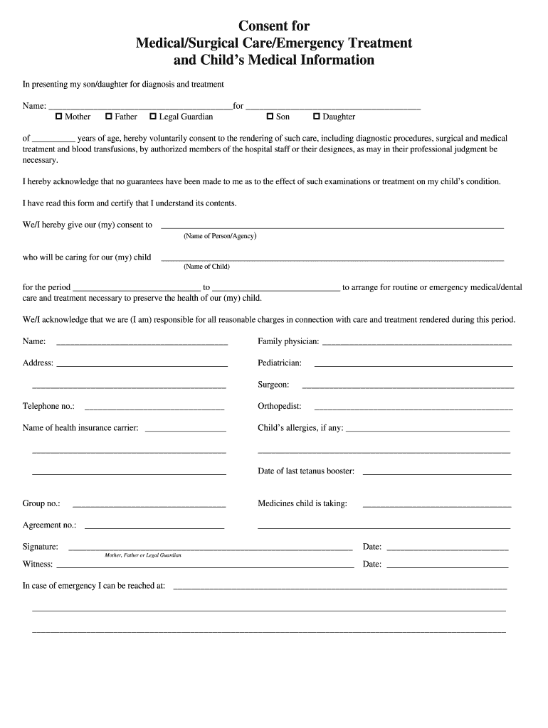 Get And Sign Consent Medical Care Form