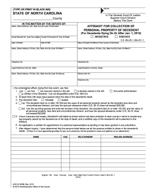 Nc affidavit form - Fill Out and Sign Printable PDF Template
