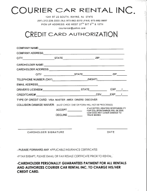 Credit Card Authorization Form Pdf Cc Rental Fill Out
