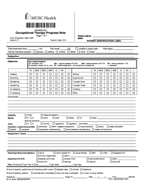 occupational therapy progress note template fill out and. Black Bedroom Furniture Sets. Home Design Ideas