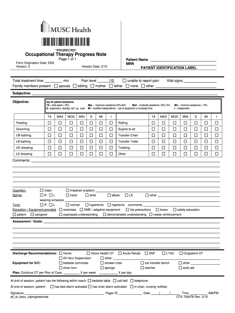 Get And Sign Home Health Occupational Therapy Note 2010-2021 Form
