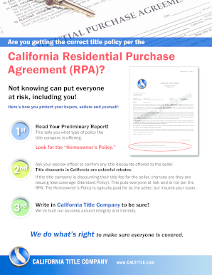 California Residential Purchase Agreement Rpa Title