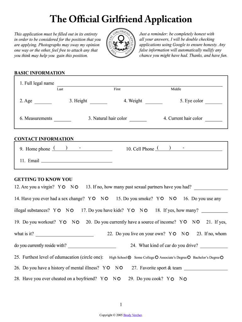 Get And Sign Girlfriend Application Form