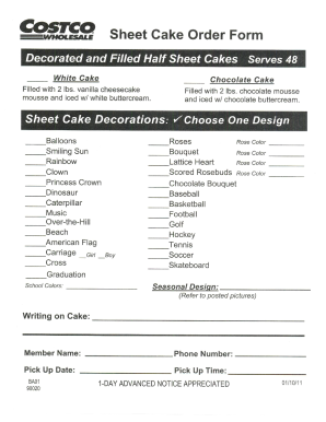 photograph relating to Cake Order Forms Printable identified as Costco cakes bakery type - Fill Out and Indicator Printable PDF