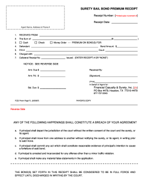 Bail Bond Receipt Fill Out And Sign Printable Pdf Template