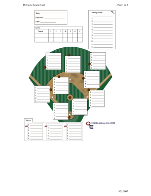 image about Free Printable Baseball Lineup Cards referred to as Defensive lineup card variety - Fill Out and Signal Printable PDF