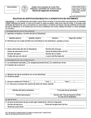 Formulario de negativa de testamento en pr - Fill Out and Sign