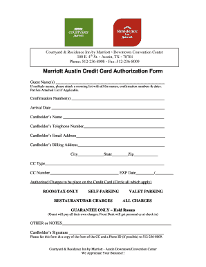 Marriott Credit Card Authorization Form Fill Out And Sign