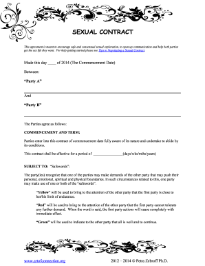 Wife sex contract
